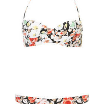 Dark Floral Bikini Top and Pants - Swimwear  - Apparel  - Topshop USA