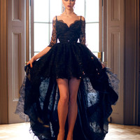 Fashion Short Front Long Back Black Lace Half Sleeve Prom Dress Robe Bal Mariage Fille For Special Formal Occasion Gowns