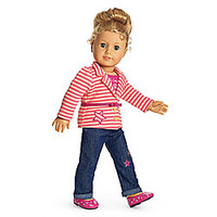 American Girl® Clothing: Bright Stripes Outfit for Dolls + Charm