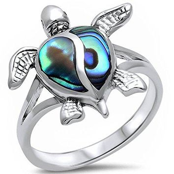 Simulated Abalone Shell Turtle 925 Sterling Silver Ring Sizes 411
