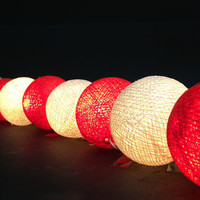20 Lighting Red White Cotton Ball String Lights Ideal for Christmas Lights, Party Lighting, Bedroom Decor