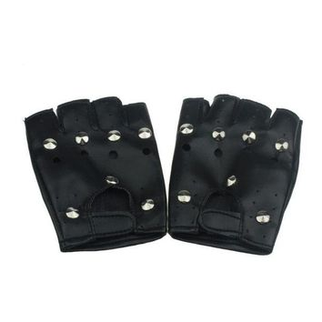ICIKU7Q JECKSION 2016 Theatrical Punk Hip-hop Gloves men With PU  Half-finger Leather Male Gloves Round Nail Guantes para hombres #LSW