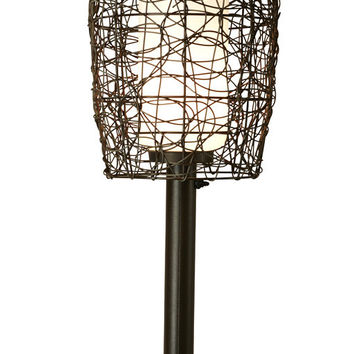 "Bristol 42"" Table Lamp with 2"" Bronze Tube Body and Random Weave Walnut Wicker Barrel Shade"