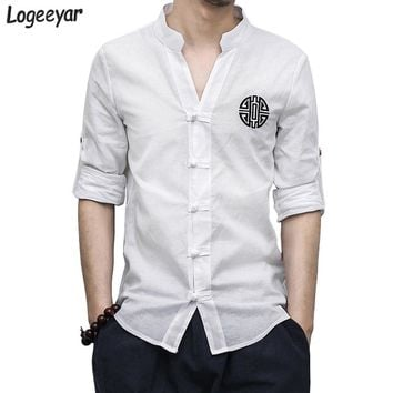 New Kung Fu Shirt Spring Casual Linen Men Shirt Fashion Print Long Sleeve V-Neck Leisure Shirts Men Morning Exercise Clothes 5XL