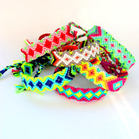 Bright Neon Handwoven Friendship Bracelet Aztec . Purple Tie - Silver
