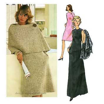 VOGUE 2739 DRESS & CAPE Pattern One-Piece Maxi Dress Sybil Connolly Designer Vogue Couturier Design Bust 36 Size 14 Womens Sewing Patterns