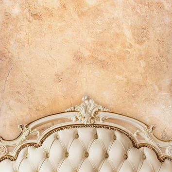 IVORY BEIGE TUFTED HEADBOARD WITH TAN BROWN STONE WALL PLATINUM CLOTH BACKDROP WITH GROMMETS - 8x8 - LCPC6201G - LAST CALL
