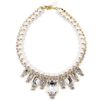 Baroque Punk Crystal Necklace W/Pearls - Crystal / White Pearls