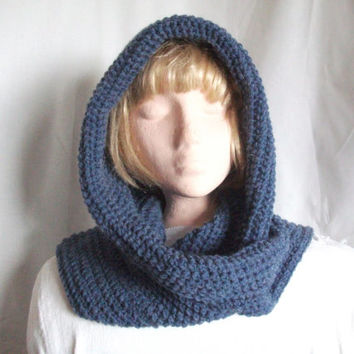 Crocheted Hooded Scarf. All In One Hood & Scarf Combo in Blue. Winter Fashion Accessories, Hoodie, Men, Women,