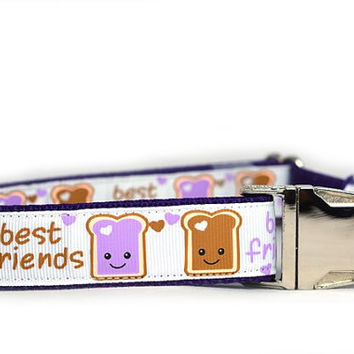 PB&J BFF Dog Collar Nickel, 1 inch wide, Peanut Butter and Jelly Friends, 4 sizes, white, purple, friends, buddies, sweet, girly, toast