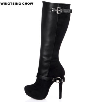Brand New Autumn Black Knee High Boots Women High Heels Buckle Platform Boots Fashionable Woman Pump 14cm Winter Boots For Women