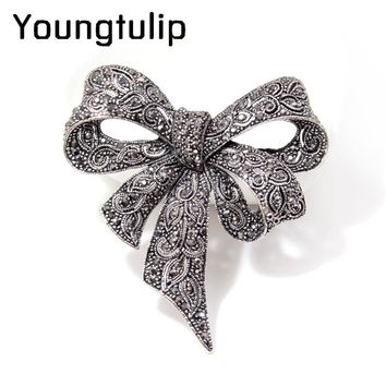 CINKILE Vintage Rhinestone Bow Brooches for Women Black Bowknot Brooch Pin Fashion Jewelry Coat Accessories Elegant Style