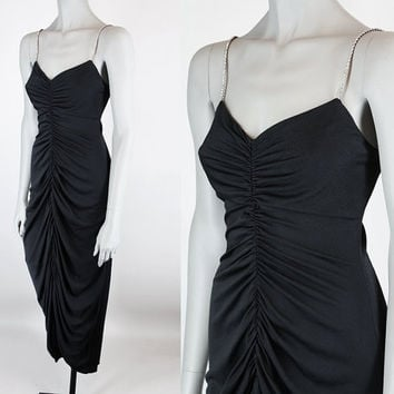 Vintage 70s Dress / 1970s Black Nylon Draped Disco Dress with Rhinestone Straps XS