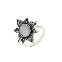 Dear Deer White Gold Plated Vintage Leaves Leaf CZ Moonstone Cocktail Ring