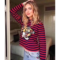 GUCCI Classic Fashion Women Personality Stripe Tiger Head Knit Long Sleeve Round Collar Sweater Pullover Top Rose Red/Blue