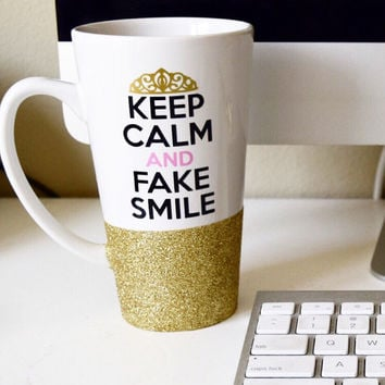 Keep Calm And Fake Smile // Personalized Coffee Cup//Glitter Dipped Coffee Mug//Stoneware Coffee Mug//Personalized Coffee Mug