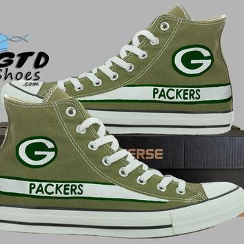 Hand Painted Converse Hi. Green Bay Packers. Football. Superbowl. Handpainted shoes. C