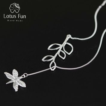 Lotus Fun Real 925 Sterling Silver Handmade Fine Jewelry Cute Dragonfly Leaves Necklace with Pendant Fashion for Women Collier