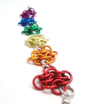 Chainmail Rainbow Flower Bracelet by SerenityInChains on Etsy