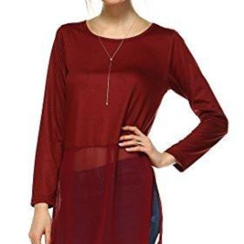 Women's Long Sleeve Round Neck Top Extender with Sheer Chiffon Bottom