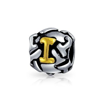Initial Letter Alphabet Bead Charm Gold Plated 925 Sterling Silver