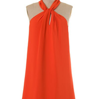Twisted Halter Neck Dress - Carrot