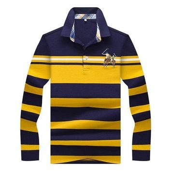 Mens Stripe Character Horse Embroidery Polo Shirt Turndown Collar Casual Tops