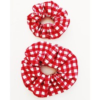 Scrunchie Gift Pack, Two Red Gingham Scrunchies