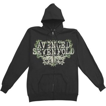 Avenged Sevenfold Men's  AVS Flourish Mens Zip Hoodie Zippered Hooded Sweatshirt Black
