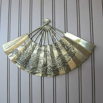 Vintage Hand Fan Wall Decor with Heavy Embossing of Dragon or Eagle , Brass Hand Fan Wall Display , Asian Wall Art