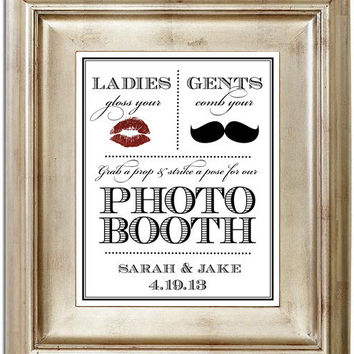 Photo Booth 8x10 Wedding Sign - Customized Photobooth Mustache Lips Ladies & Gents Personalized Typography Art Print