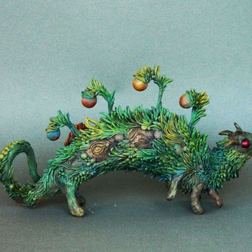 Caterpillar OOAK Fantasy Creature Sculpture Animal Totem Figurine Fantasy Guardian Spirit Amulet Shamanic Native
