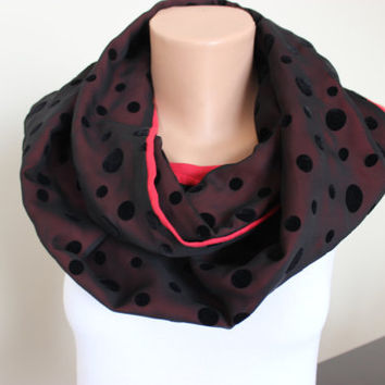 Red Scarf, Black Women's Scarf, Red Linen Scarf, Black Chiffon Evening Scarf, Infinity Scarf, Red Black Elegant Scarf, For her, Scarf Angel