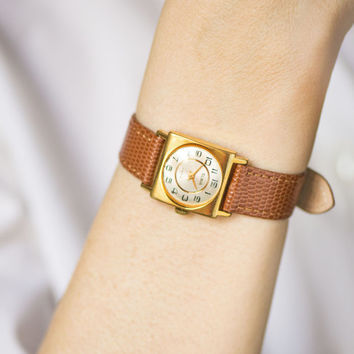 Square woman's watch tiny, classical design wristwatch gold plated, Glory watch gift her, retro lady watch, premium leather strap new