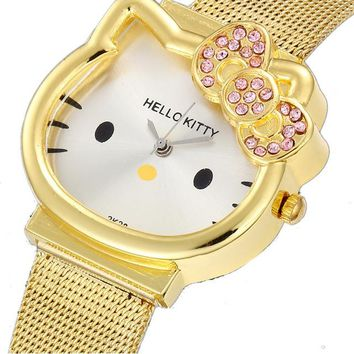 Hello Kitty Watch Cartoon Clock Girl Children Lovely Wrist Watches Kids Cute Child Brand Casual Hodinky Ceasuri Criancas Relogio