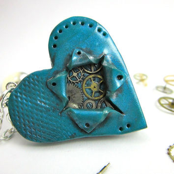 SALE Steampunk Be still my ticking heart necklace by TrenoNights