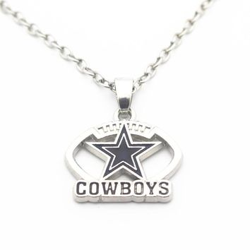 10pcs/lot 20 Inch Chains Necklace Football Style Enamel Dallas Cowboys Pendant Necklace For Women Long Necklace DIY Jewelry
