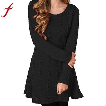 Feitong Womens Knitted Cotton Dress 2017 Women Autumn Winter Dress Warm Outwear Jumper Ladies Knitwear Long Sleeve Mini Dresses