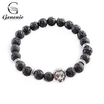 1PC New Fashion Men Black Lava Stone Gold&Silver Lion Beaded Cuff Charm Bangle Bracelet Jewelry