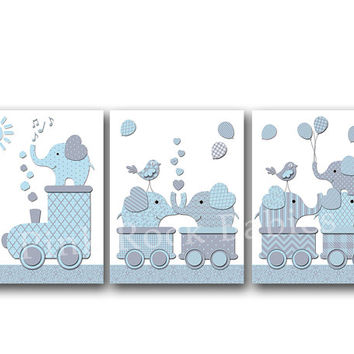 Elephant nursery wall decor kids room artwork baby boy bedroom art playroom decoration blue grey train poster toddler print shower gift