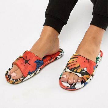 ASOS DESIGN Nela satin floral slippers at asos.com