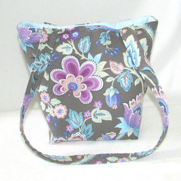 Floral Purse, Small Tote Bag, Handmade Handbag, Fabric Bag, Gray, Blue, Pink, Flowers, Cloth Purse, Shoulder Bag