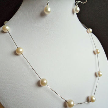 White Freshwater Pearl Necklace and Freshwater by Lunarpearl