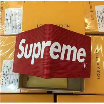 LOUIS VUITTON SUPREME NEW MEN'S RED LEATHER WALLET