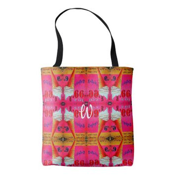 Pink and orange vintage ice cream tote