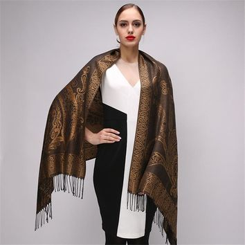 Women's Paisley Silk Scarf Luxury Poncho with Tassels Wrap