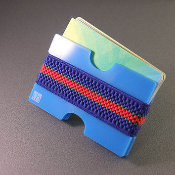 Front pocket Wallet, credit card holder, BLUE with BLUE-RED elastic band