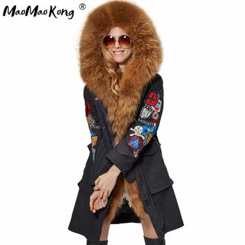 MaoMaoKong X-Long Embroidery Large real Fur Hooded Parkas Coat natural Fur women Military Jacket