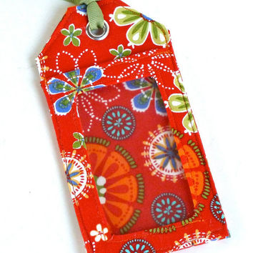 Fabric Luggage Tag Orange Floral