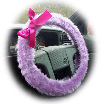 cute lilac faux furry fur fluffy fuzzy car Steering wheel cover with Hot Pink Bow